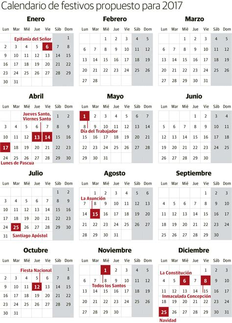 Calendario Laboral 2017 Madrid Capital Calendario Laboral 2017 Festivos Y Puentes Elcorreo