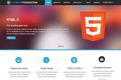 foundation 5 templates foundation 4 business theme 5 in 1 website templates on