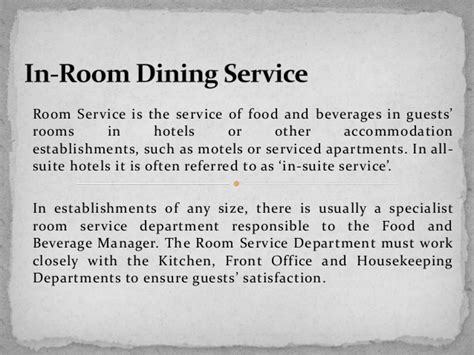 In Room Dining Service Description In Room Dining Service