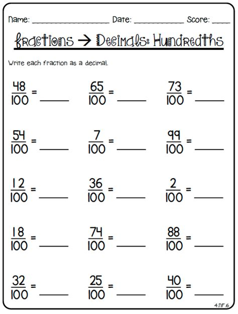 printable math worksheets decimals fractions decimal worksheets for 4th grade 80 fraction printables