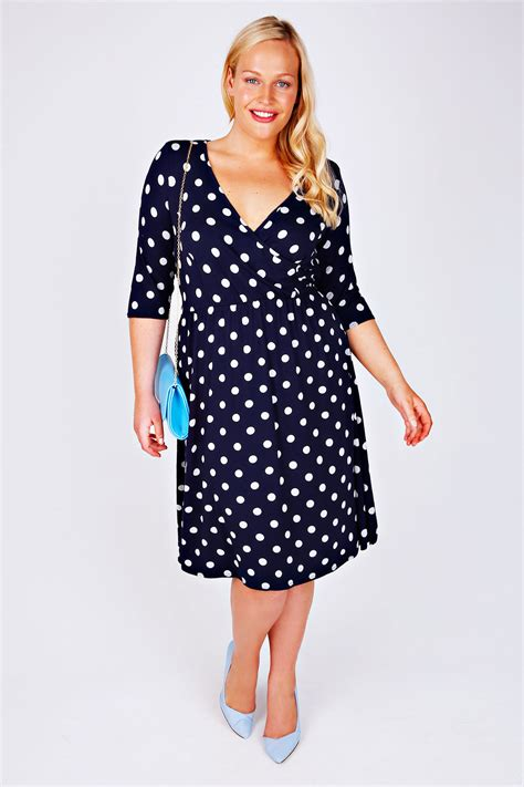Dress Navy Polkadot jo navy polka dot wrap front dress