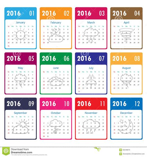 Calendar Weather 2016 Calendar Template With Weather Icon Vector