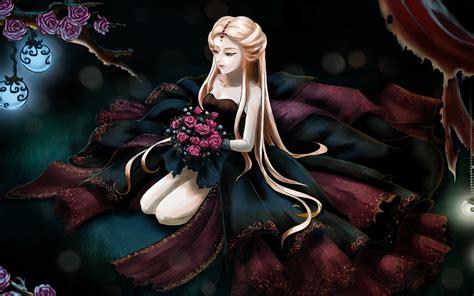 anime queen wallpaper long hair anime girl rose flowers wallpaper anime