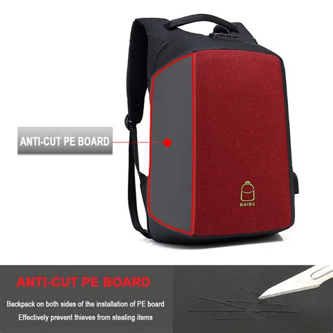 Tas Anti Maling Anti Thelypteridaceae Backpack baibu tas ransel anti maling coded lock dengan usb charger port aux port zl1960 gray
