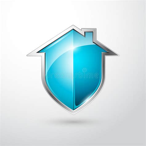 home security silver and blue shield stock vector image