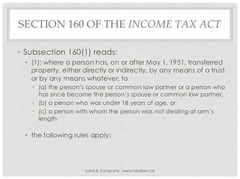 section 18 of income tax act section 160 and the power to collect gavin laird ll b