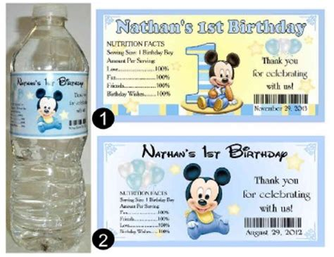 Label Stiker Nama Water Proof Size M Mickey Mouse Sh 20 baby mickey mouse 1st birthday water bottle labels ebay