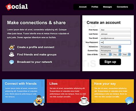 social networking sites templates php gallery templates