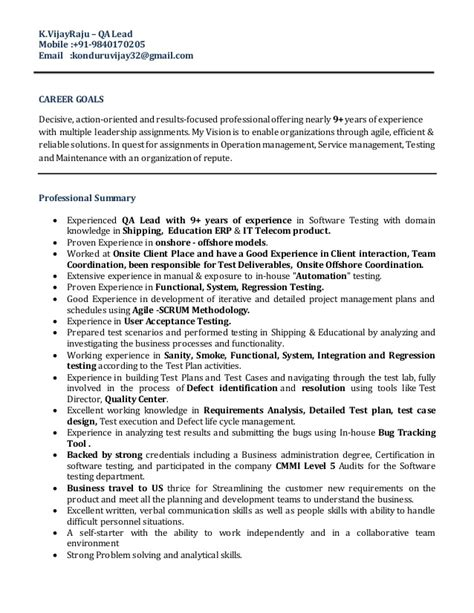 Qa Lead Resume by Vijay Raju Qa Lead Resume 1