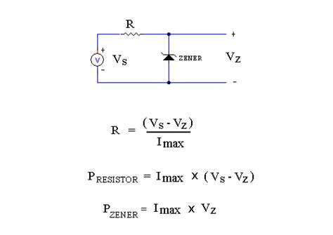zener diode series resistor calculation components selection guide