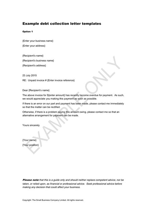 Invoice Collection Letter Template Exle Debt Collection Letter Templates In Word And Pdf Formats