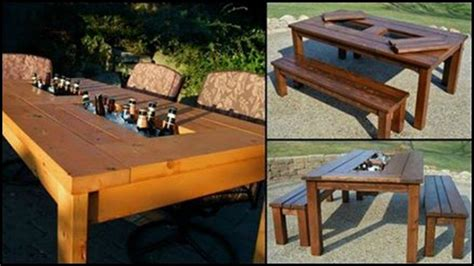 diy patio table  built  beerwine coolers
