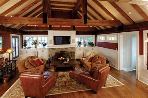 Mudroom Addition by Family Room Addition With Rustic Beams And Vaulted Ceiling