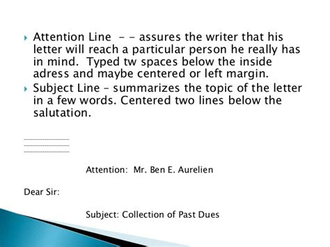 Business Letter Exle Subject Line attention line in business letter exle 28 images