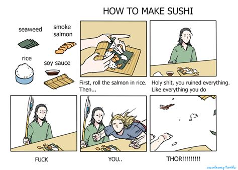 How To Make A Meme Comic With Your Own Picture - how to make sushi asgardian version how to make sushi
