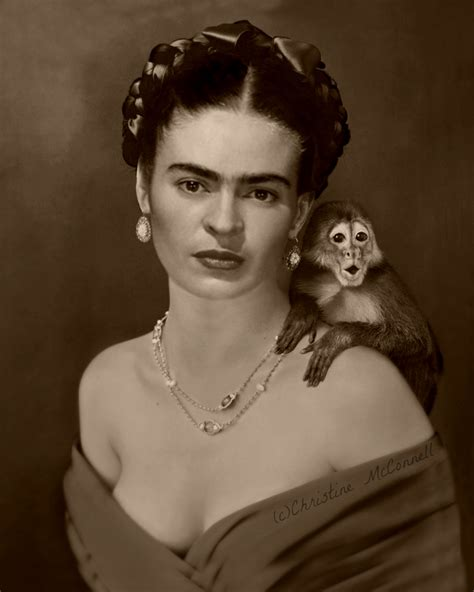 frida kahlo photo montage with monkey from www
