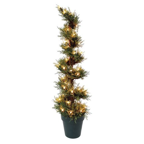 3ft pre lit spiral shaped christmas tree indoor outdoor