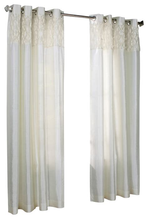 faux silk cream curtains emmanuel grommet top faux silk smocked panel cream 52x84
