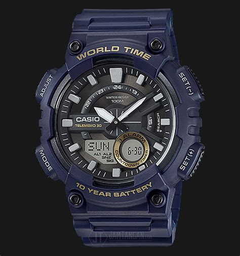Casio Navy Aeq 110w 2avdf casio aeq 110w 2avdf water resistant 100m resin band