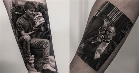these black and white tattoos look like photos printed on