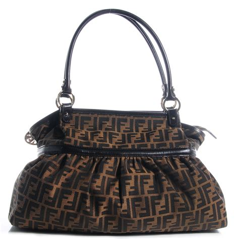 Fendi Large Quilted Chef Purse by Fendi Zucca Large Chef Shoulder Bag Tobacco 81989