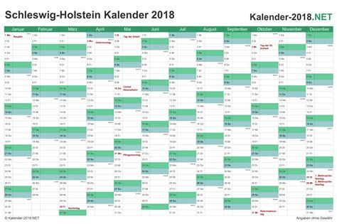 Kalender 2018 Mit Feiertagen Schleswig Holstein Kalender 2018 Schleswig Holstein