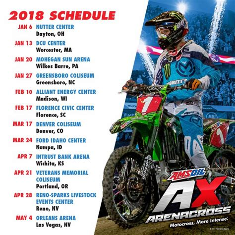 motocross racing tv schedule 2018 amsoil arenacross schedule announced by feld