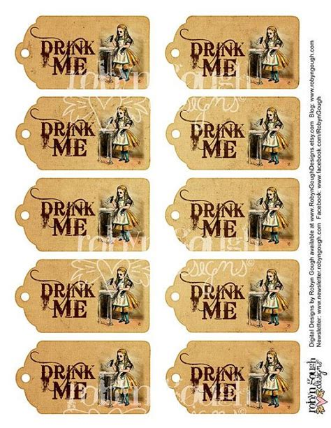 printable drink tags alice in wonderland drink me tags printable sheet drink