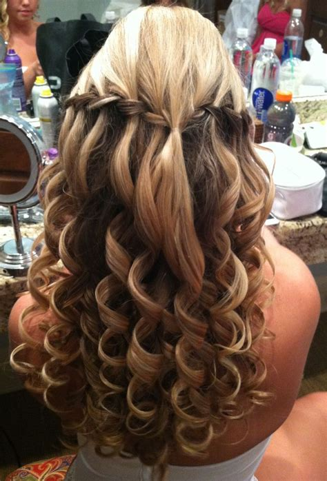 bumbed hair with curls wedding prom hair waterfall braids with a bump and big