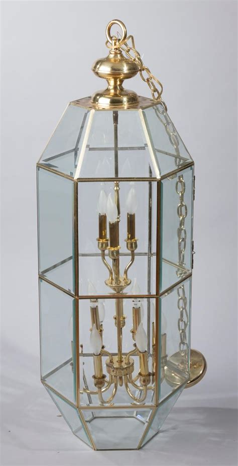 Beveled Glass Chandelier Large Hexagonal Brass And Beveled Glass 12 Light Entryway Ch