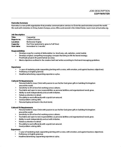 job description sections sle copywriter job description 11 exles in pdf word