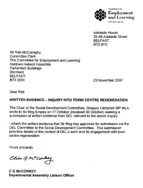 Inquiry Letter Hotel Northern Ireland Assembly Committee For Social Development Inquiry Into Town Centre