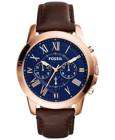fossil s chronograph grant brown leather