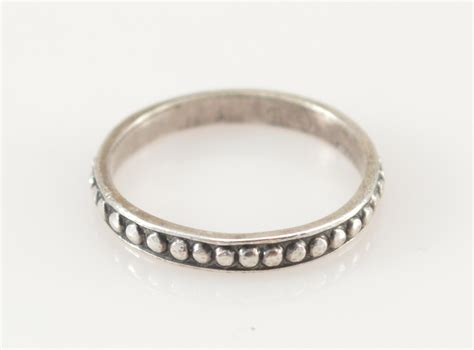 solid silver beaded band sterling ring size 6 75 1 7g