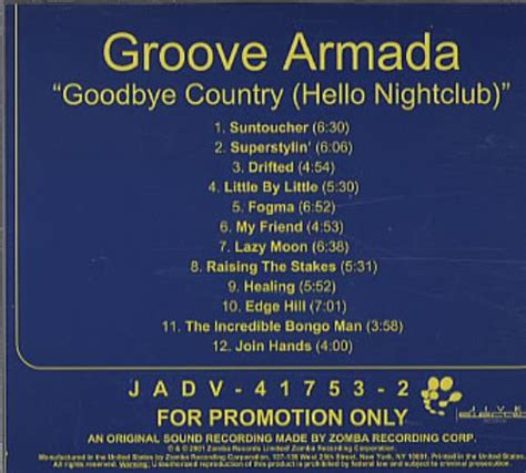 groove armada goodbye country groove armada goodbye country hello nightclub usa promo cd