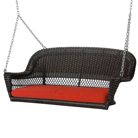 wicker swings jeco wicker porch swing in espresso with red cushion