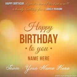 write name on happy birthday card for wishes greeting card