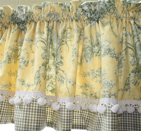 yellow and blue kitchen curtains waverly la petite ferme rooster toile custom valance ebay