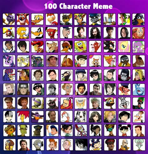Meme Characters List - new 100 character meme by cartoonsilverfox on deviantart