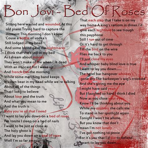 bed of roses lyrics bon jovi bed of roses lyrics 28 images justin timberlake cry me a river sheet quot