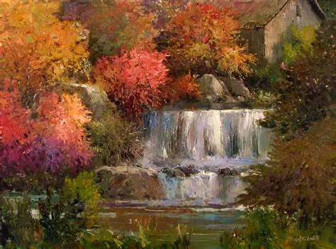 Arthur Wood Vase Magnificent Falls By Kent R Wallis Joseph Donaghy Art