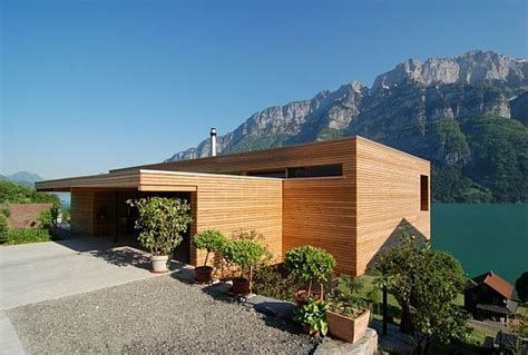 two story contemporary home made out from concrete wood