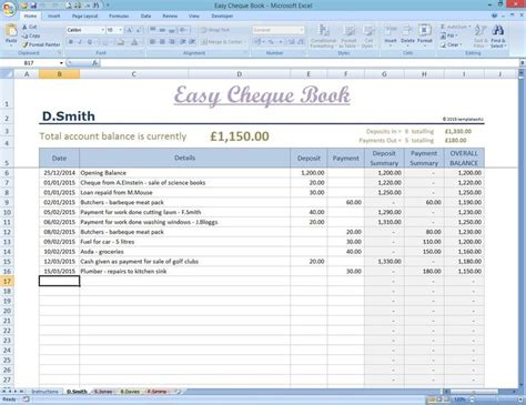 Etsy Spreadsheet by Easy Cheque Book Template Excel Finance Spreadsheet
