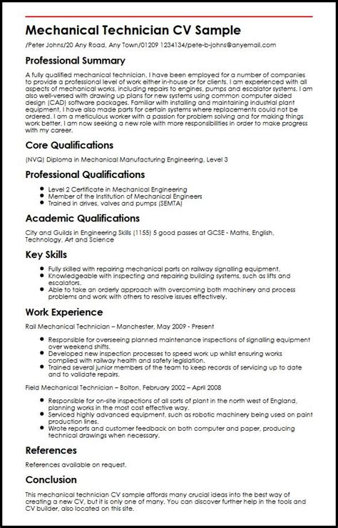 Great Job Skills To Put On Resume by Mechanical Technician Cv Sample Myperfectcv