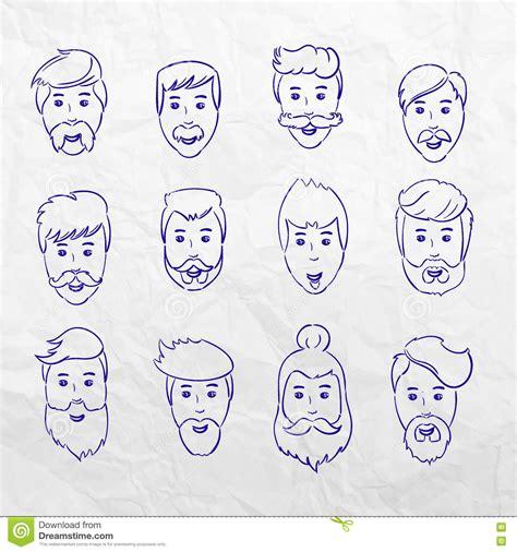 doodle hair vector hairstyles beard and hair cut doodle