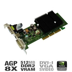Vga Card Agp 512mb Pny Vcg62512saeb Geforce 6200 Card 512mb Ddr2 Agp 8x Dvi S Vga Low Profile