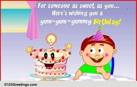 Yum yummy Birthday! Free For Kids eCards, Greeting Cards