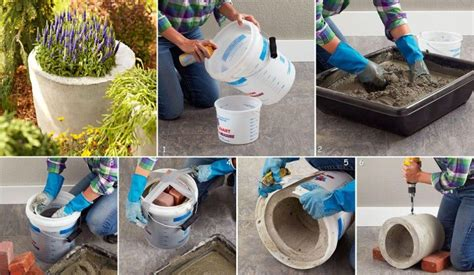 make your own concrete planters and birdbaths
