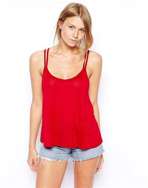cami swing top asos asos swing cami top with strappy back at asos