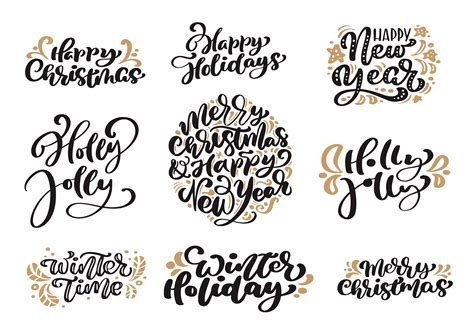 set  merry christmas vintage calligraphy lettering vector text  winter drawing